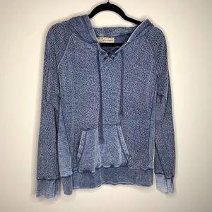 Vintage Havana Blue Lace Up Hoodie Sweatshirt L